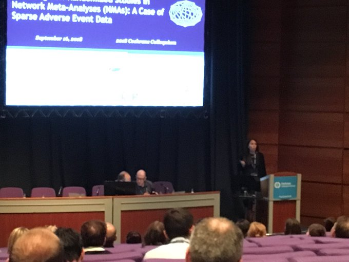 Brilliant talk by Dr Jenn Watt on incorporating non-randomized studies in network meta-analysis to overcome network sparsity #CochraneforAll Photo