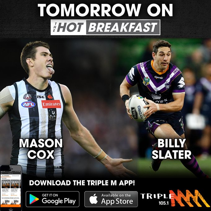 We have a massive @mmmhotbreakfast for you tomorrow morning, with superstars from Collingwood and Melbourne Storm joining us! Tune in from 6am! Photo