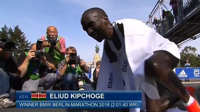 World record for Eliud kipchoge running 2:01:40 #ChamgeiTheStationOfChampions Foto