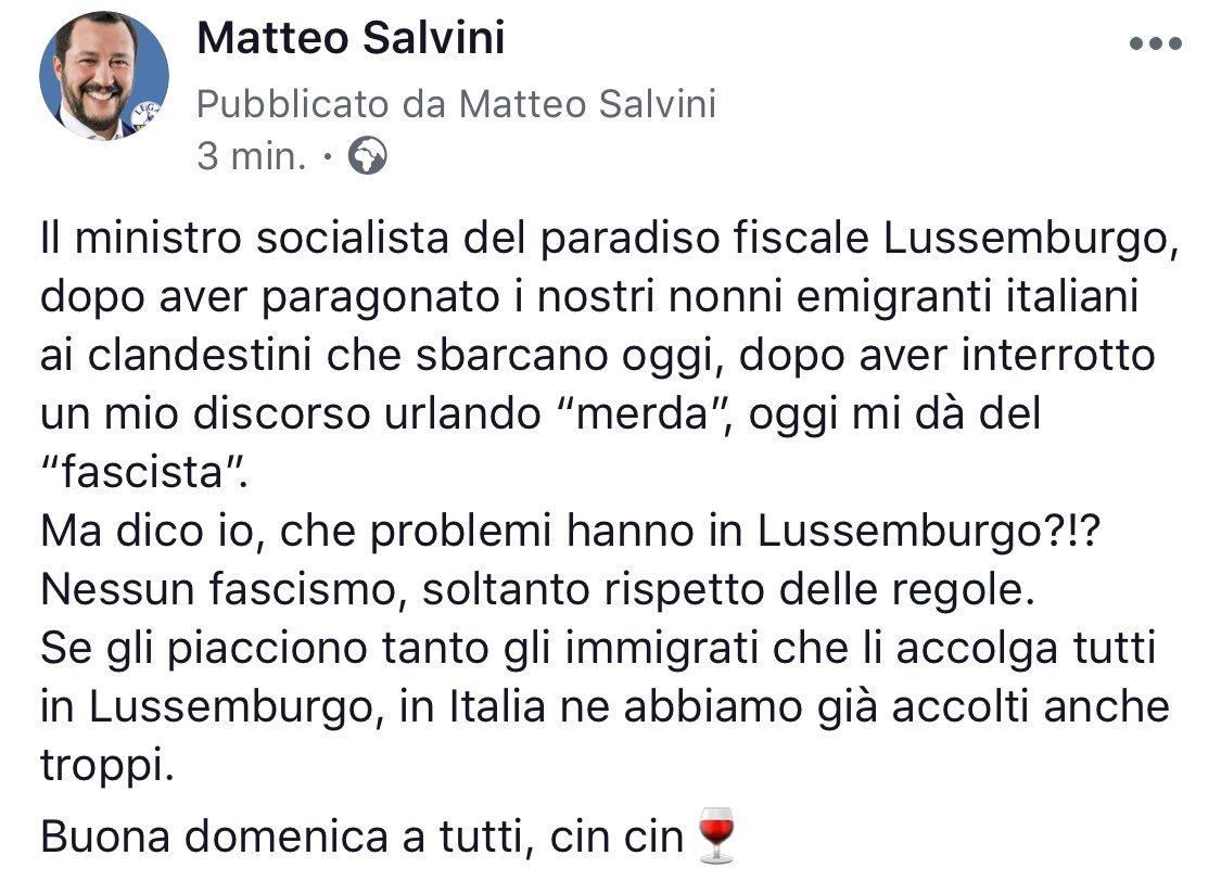 Ma dico io, che problemi hanno in #Lussemburgo?!?Nessun fascismo, soltanto rispetto delle regole.Se gli piacciono tanto gli immigrati che li accolga tutti in Lussemburgo, in Italia ne abbiamo già accolti anche troppi.Buona domenica a tutti, cin cin  - Ukustom