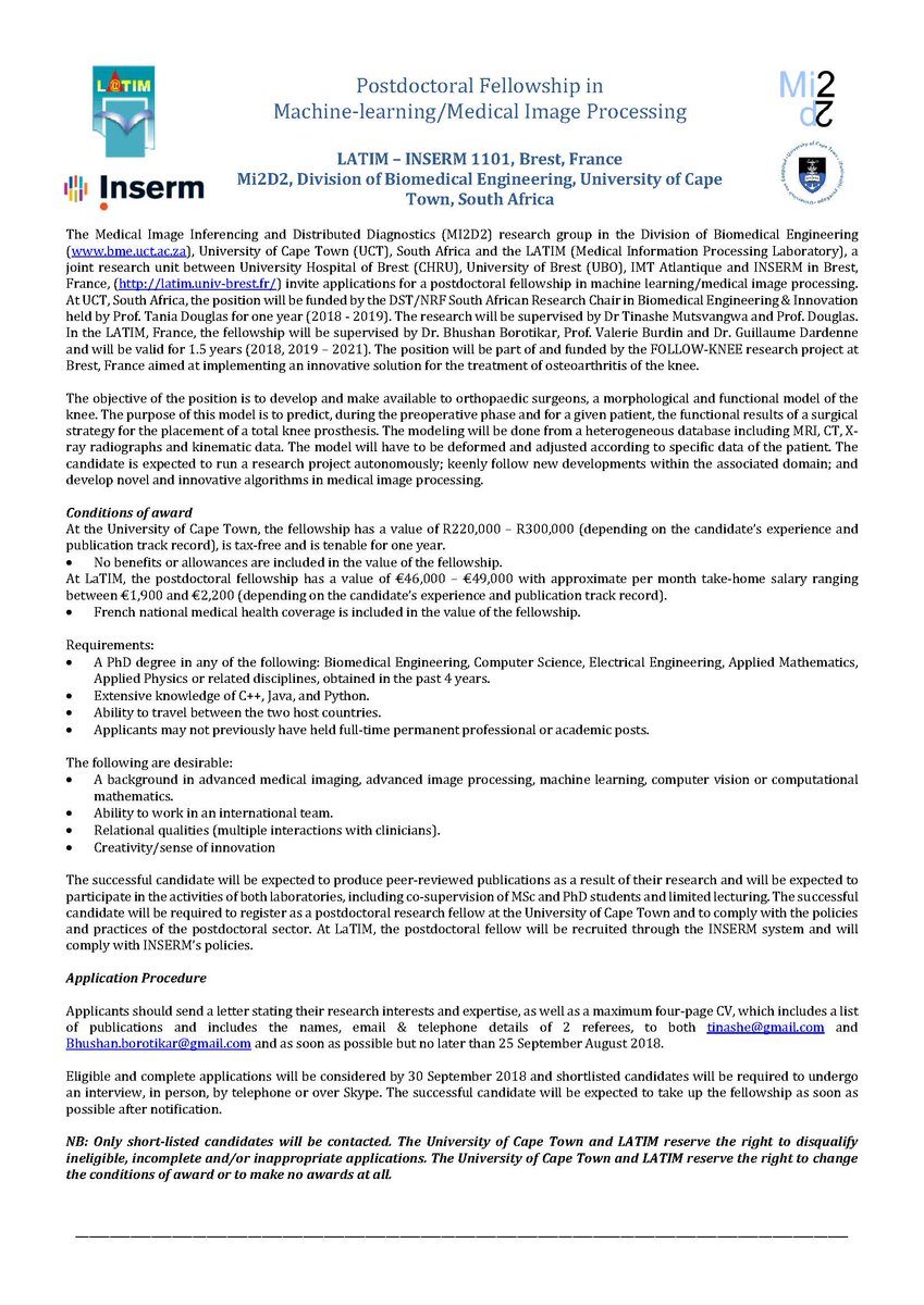Tania douglas taniadouglas twitter new multi site postdoc vacancy on machine learning in medical image analysis in our research group mi2d2 uctbme in collaboration with latim laboratory in expocarfo Image collections