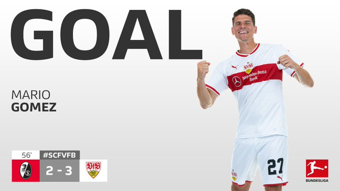 And @VfB_int lead again! @Mario_Gomez scores his second on his 300th #Bundesliga appearance! 😱 WHAT. A. GAME. #SCFVfB Foto