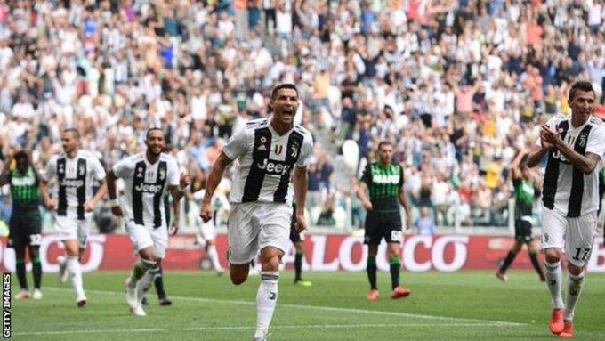 Cristiano Ronaldo Scores Twice As Juventus Beat Sassuolo 2 –1 Photo