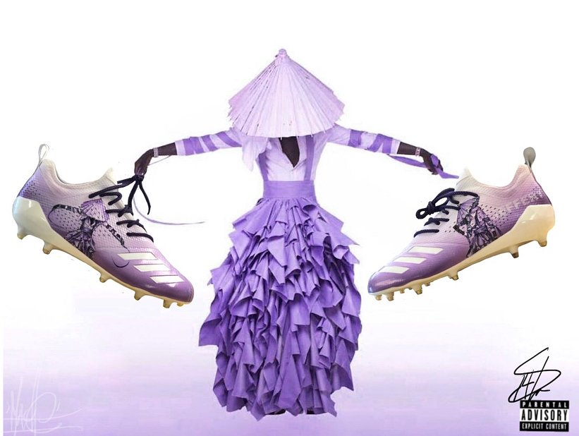 .@YoungThug inspired 'Jeffery' Adidas cleats for @StefonDiggs by @Mache275.