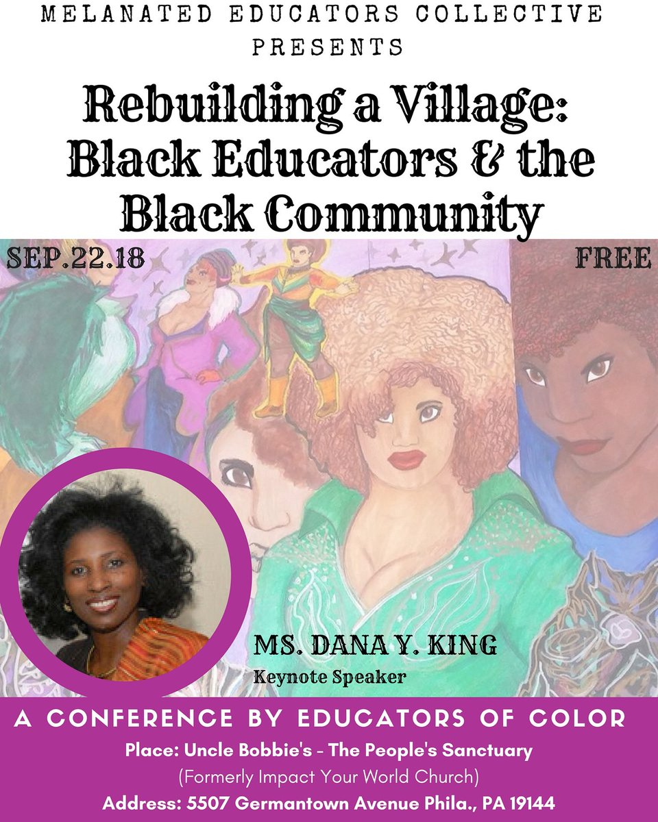 We are less than one week away from the first Melanated Educators of Color conference @UncleBobbies Peace Sanctuary this upcoming Saturday 09/22 starting at 8:30am. @ishx10 @KeithEricBenson @CaucusofWE @kendrab21973200 @TeachKizzyTeach @BLMPhilly @BMECFellowship @BLMAtSchool