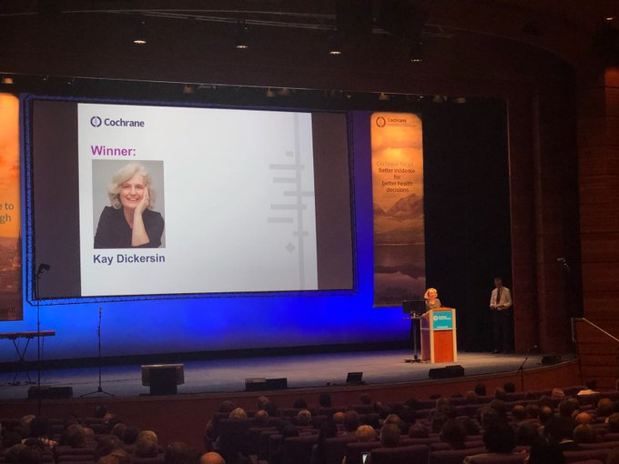 We are delighted that @KayDickersin has won the 2018 #AnneAnderson award!! The award appreciates women who has contributed significantly and champion for women diversity within #CochraneForAll. We thank you!! Photo