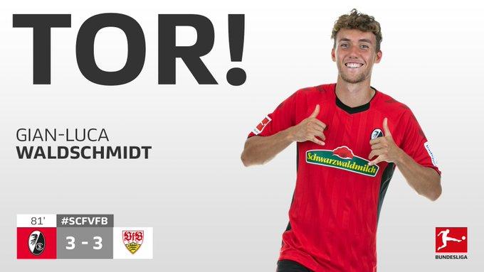 Ausgleich! Der @scfreiburg trifft zum 3:3! 🙌#SCFVfB #Bundesliga Foto