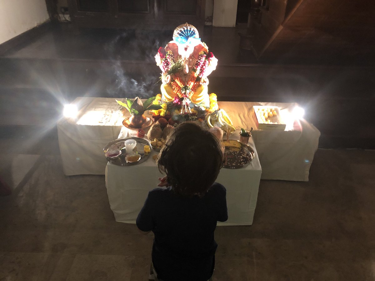 Our Ganpati 'Pappa' is home, as the lil one calls him.