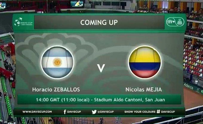 ¡Horacio Zeballos vs. Nicolás Mejía! 🇨🇴🎾🇦🇷 Se abre la serie entre Argentina y Colombia. En vivo: #COPADAVISxWIN Foto
