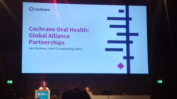@CochraneOHG Co-ordinating Editor Jan Clarkson presents on our partnerships at #CochraneForAll Photo