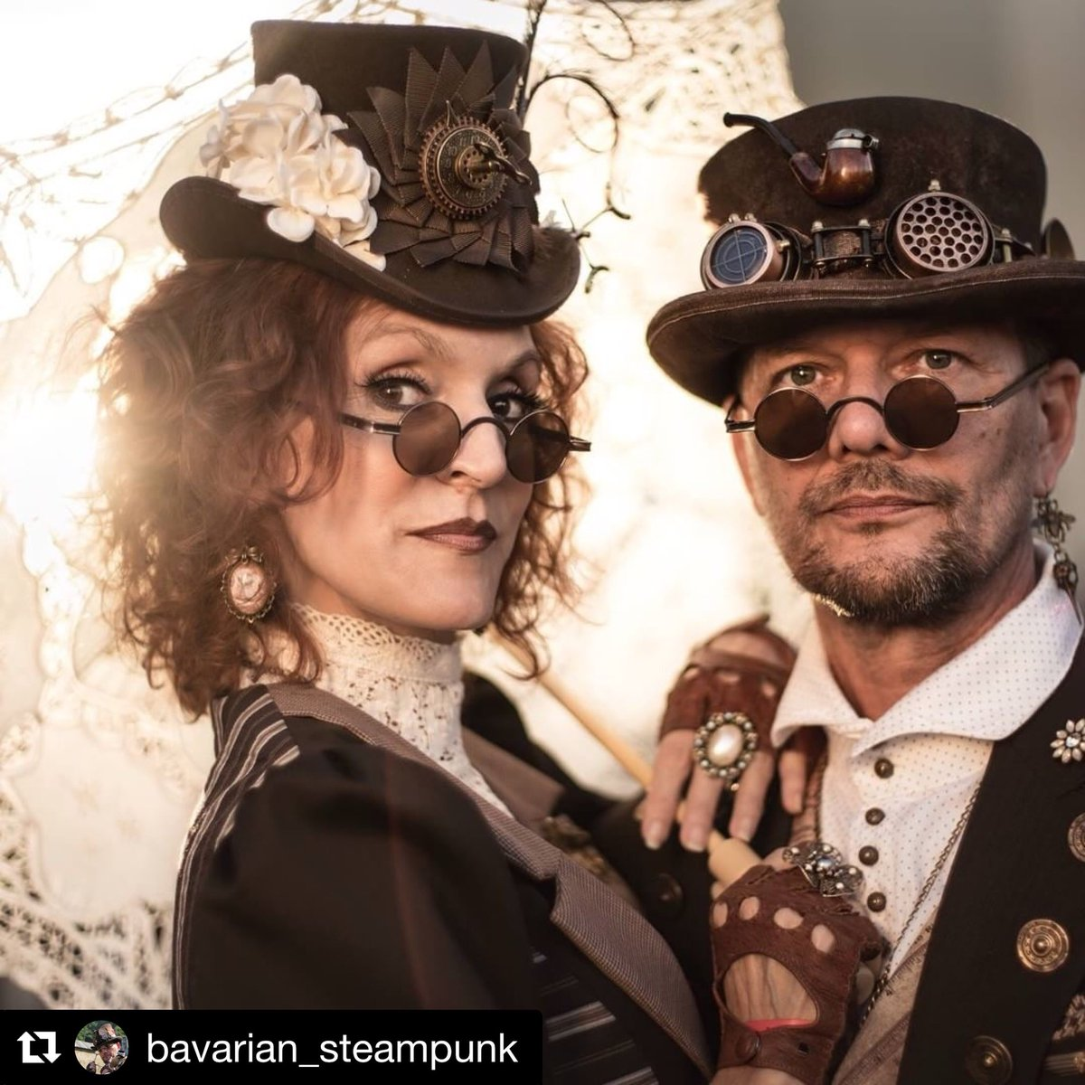 We love attention to detail so we couldn't resist sharing this pair!  #Repost @bavarian_steampunk  Photo: Torsten MacDonald #steampunkcircus #steampunk #costume #alternative #steampunkstyle #attentiontodetail #details #tophats #style #fashion #sunday #steampunksunday #photo