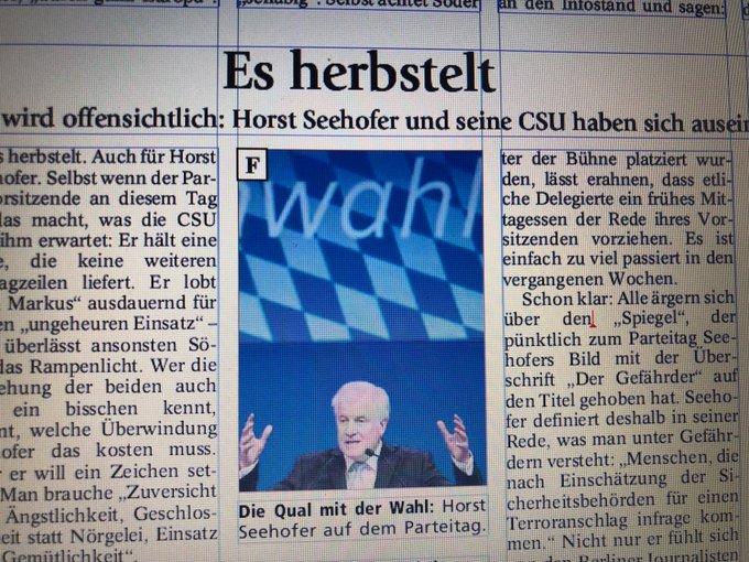Es herbstelt: Der #CSUPT18 hat gezeigt, wie sehr sich Horst Seehofer und seine Partei auseinander gelebt haben. Die Analyse mit @CDeutschlaender morgen @MerkurStadt Foto