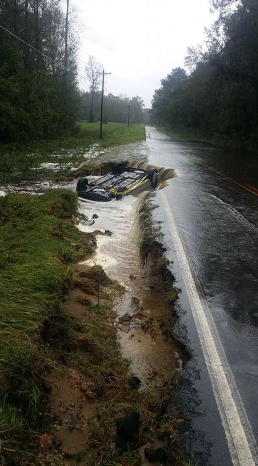 Copied this pic from Nextdoor app for those living in the Oak Island, NC area. Apparently this mishap occurred in Southport, next-door to OKI. Reminder that even small amts water on road=hazardous. Flooding is everywhere, well past time for Florence to move on. Photo