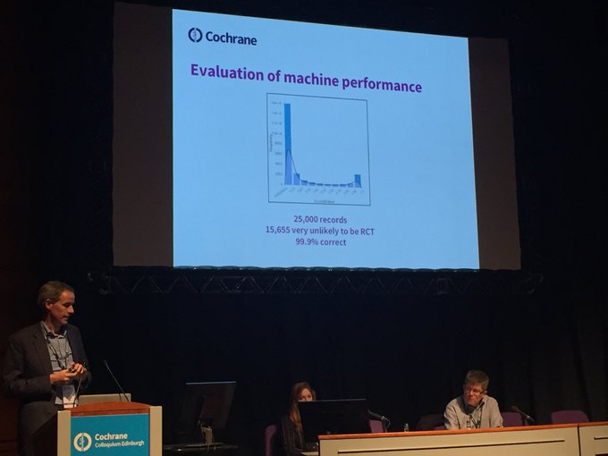 .⁦@jhjelliott⁩ talking about the potential impact of machine learning on ⁦@cochranecollab⁩ review work #CochraneForAll Photo