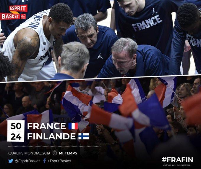 Mi-temps à Montpellier : les Bleus ont réalisé une démonstration dans les 20 premières minutes, atteignant la barre des 50 points ! 🔥 Superbe début de match, bravo les gars ! A poursuivre 👊 #FRAFIN 50 🇫🇷 🇫🇮 24 #EspritBasket Photo