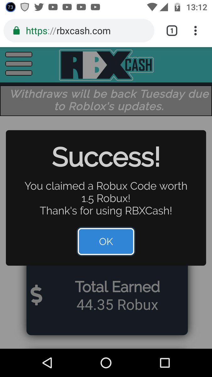 Rbxcash robux code