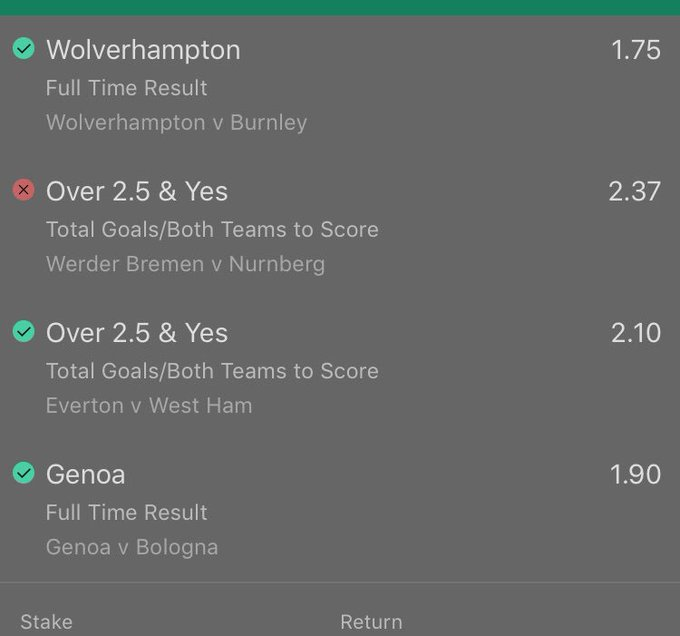 So unlucky on ACCA! Werder Bremen ended 1-1 😫 Foto
