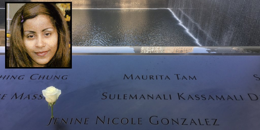 Bronx native Jenine Gonzalez lived in New York City. She worked as an executive assistant at Aon Corporation. On 9/11, Jenine was at work on the South Tower's 105th floor. Today a white rose was placed at Jenine's name on the #911Memorial in honor of her 45th birthday.