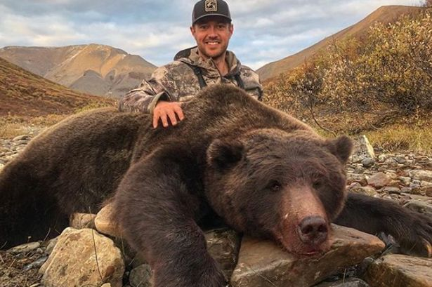 Tim Brent, @Brenter37, is shocked and upset about the abuse he received after bragging about killing this beautiful grizzly bear last week. Oh poor baby. Did mean words make you cry? Next time dont #TrophyHunting. RT to make this bench hockey player never hunt again