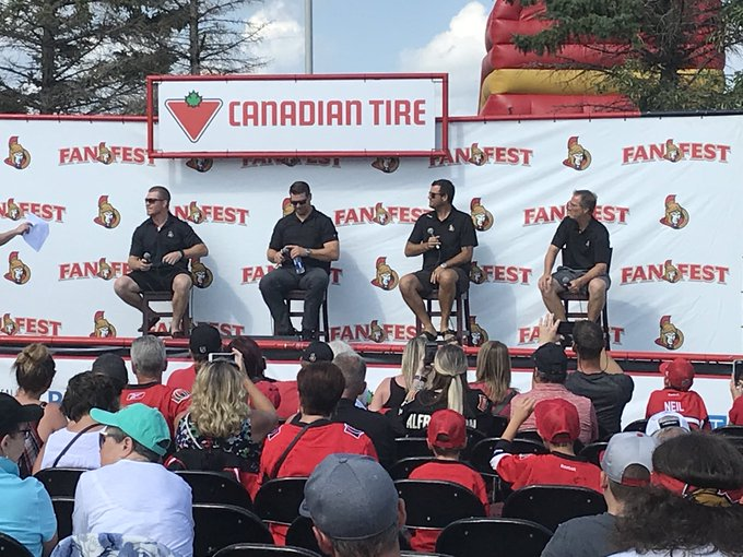 Neiler. Roy. Patty. Tugger. Fan press conference is underway! #SensFanfest Photo
