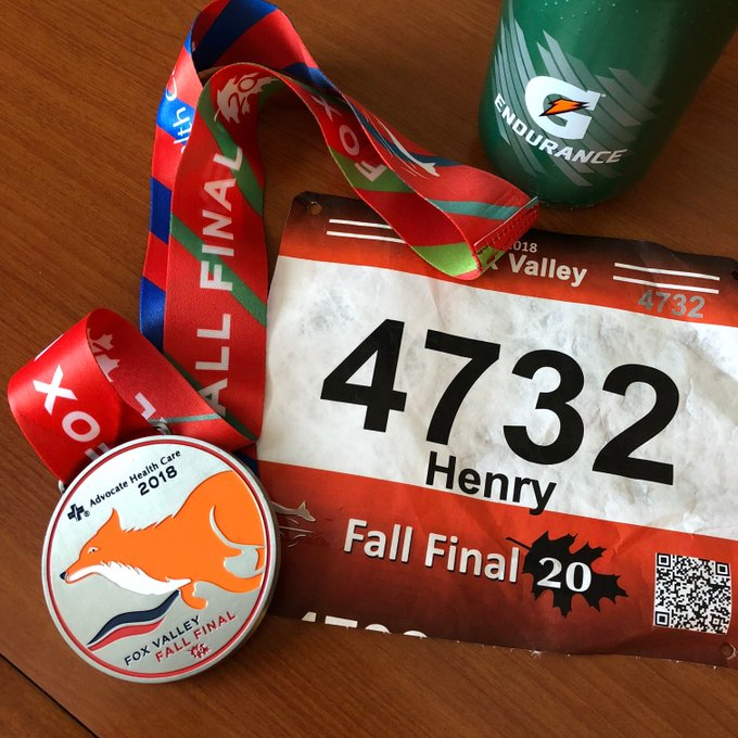 It was a warm one today @foxvalleymarathon where I did the 20-mile race as a last long run before @chimarathon. 2:47:55 officially, good enough for 2nd in age group and top 10% overall. Foto