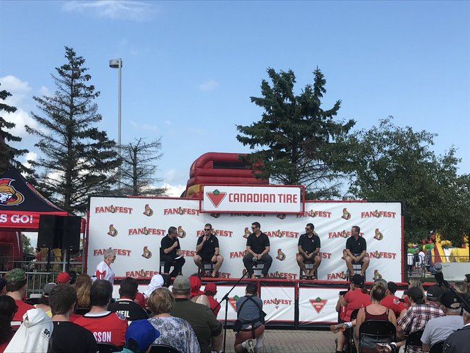 Taking a trip down memory lane with Chris Neil, Patrick Lalime, Andre Roy and Ron Tugnutt #SensFanfest Photo