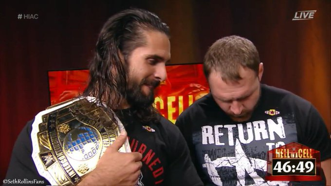 Seth & Dean stop by on the Kick Off Show ahead of their tag team championship match, Dean states Ziggler & McIntyre never had the power #SethRollins #HIAC Photo