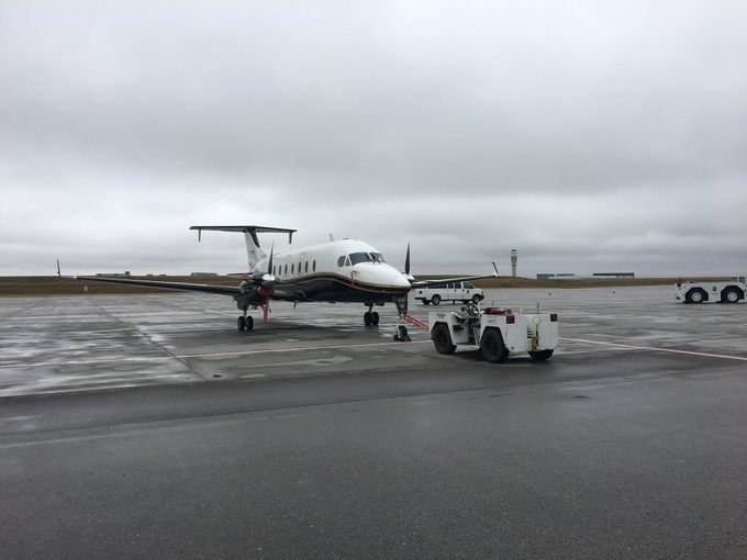 Gearing up for our Kids Pull! Thanks to @NorthCaribooAir for supplying the 11,000 pound Beechcraft 1900D and to the @UCalgary Dinos Football team for being our team captains! #DoLocalGood Photo