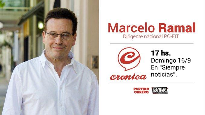 #Medios | Hoy, 17hs en Crónica Tv, participa @marceloramal. También se puede ver online en Foto