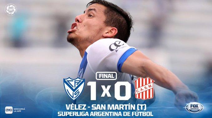 ¡GANÓ VÉLEZ! #SuperligaxFOX   Con un tanto de Lucas Robertone, el Fortín superó a San Martín de Tucumán en Liniers y obtuvo tres puntos claves para su principal objetivo: la permanencia en la máxima categoría. Foto