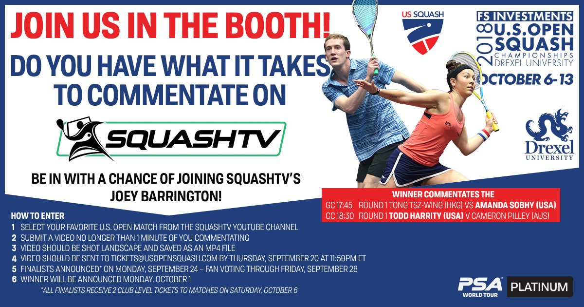 test Twitter Media - Have you ever wanted to commentate on @SquashTV with @joeybarrington? Here's your chance. 🎙️  Enter the Commentator Contest by Thursday, September 20 and you can show the world your skills during the match of @itssobhytime or @toddharrity!  ℹ️: https://t.co/x3hwxCCJXr https://t.co/x4jjQkLKtF