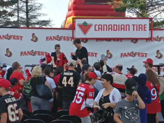 Stone sticking around to sign autographs after the Family Feud game #SensFanFest Photo