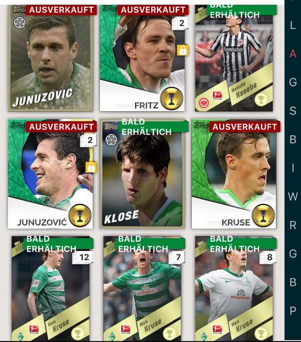 40 Gold Gamechangers and all my other cards except Bremen singles available for €£$! Foto