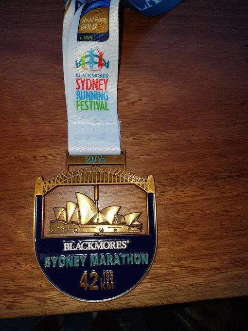 Delighted to have earned this medal at #blackmores @officialbsrf #SydneyRunningFestival @2OceansMarathon qualifier for 2019 done and dusted Photo