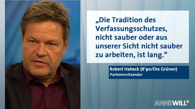 .@RobertHabeck übt bei #AnneWill Kritik am Bundesamt für Verfassungsschutz. #Maaßen Foto