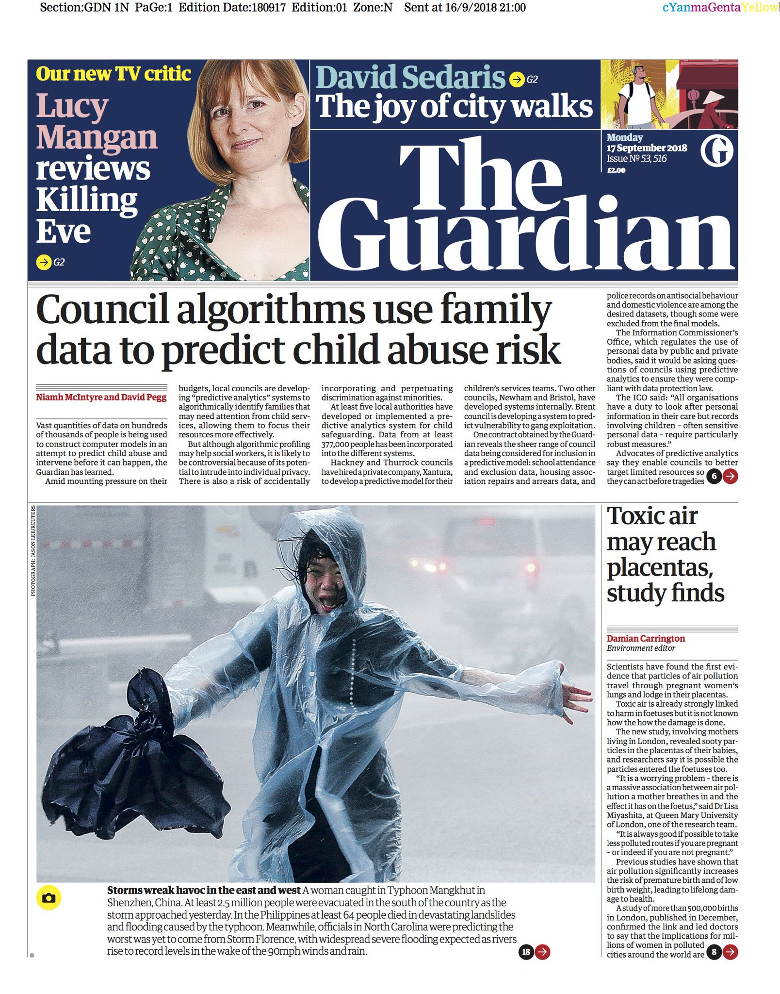 The Guardian front page, Monday 17 September 2018: Council algorithms use family data to predict child abuse risk https://t.co/b7CADWqci5