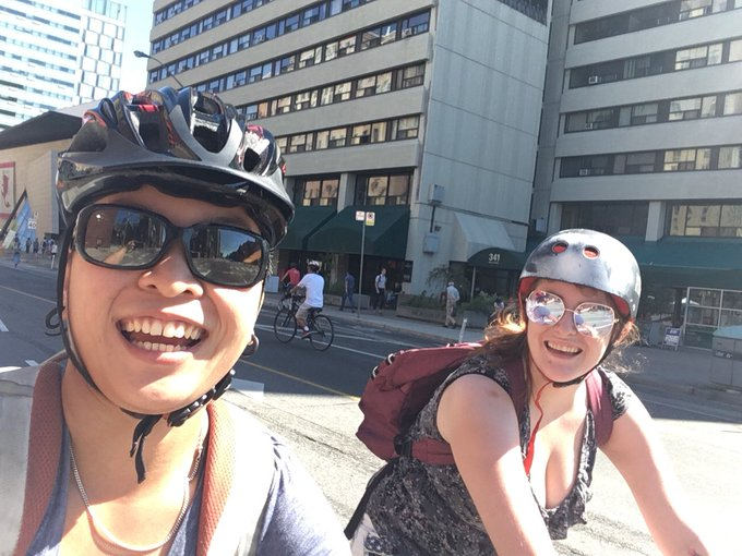Great time zooming around @OpenStreetsTO today, with my lovely girlfriend and no fear of vehicular collision #BikeTO Photo