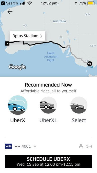 Cmon @Uber No listed price?? Not good #AFLEaglesDees #AFLFinals Photo