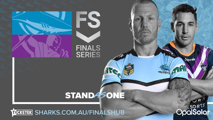 New week, New challenge The Sharks face the Storm at AAMI Park on Friday for a place in the Grand-Final 📝 l #StandAsOne #UpUpCronulla Photo