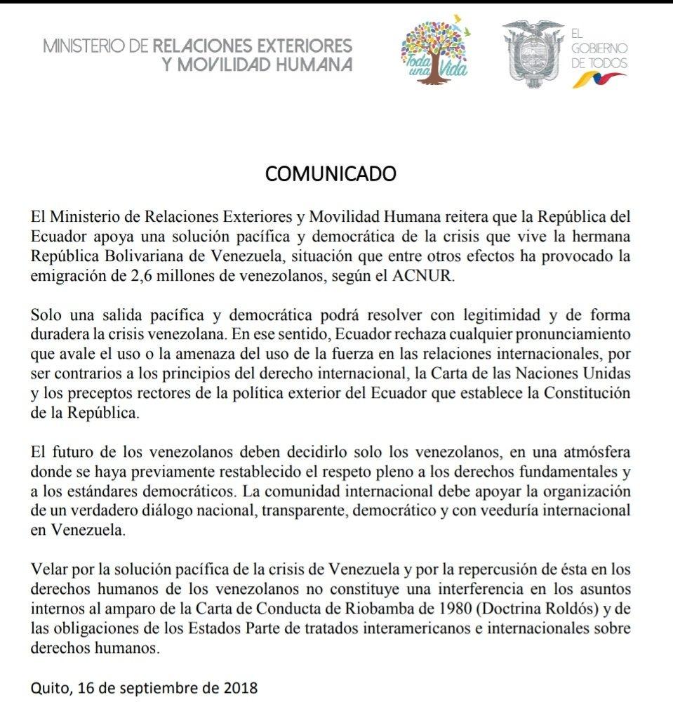 """Ecuador rechaza pretensiones extranjeras del uso de la violencia """"contra la hermana Venezuela"""" DnQVvYiXgAAeaKV"""