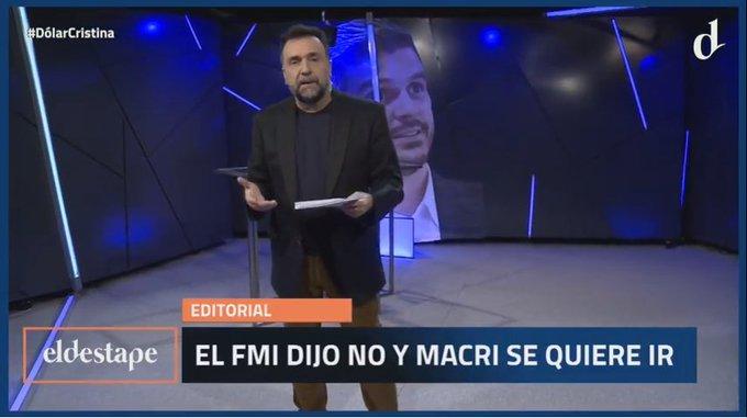 El FMI dijo no y Macri se quiere ir: editorial de @robdnavarro en El Destape. #DolarCristina Miralo en vivo en , YouTube y Facebook Live. Foto