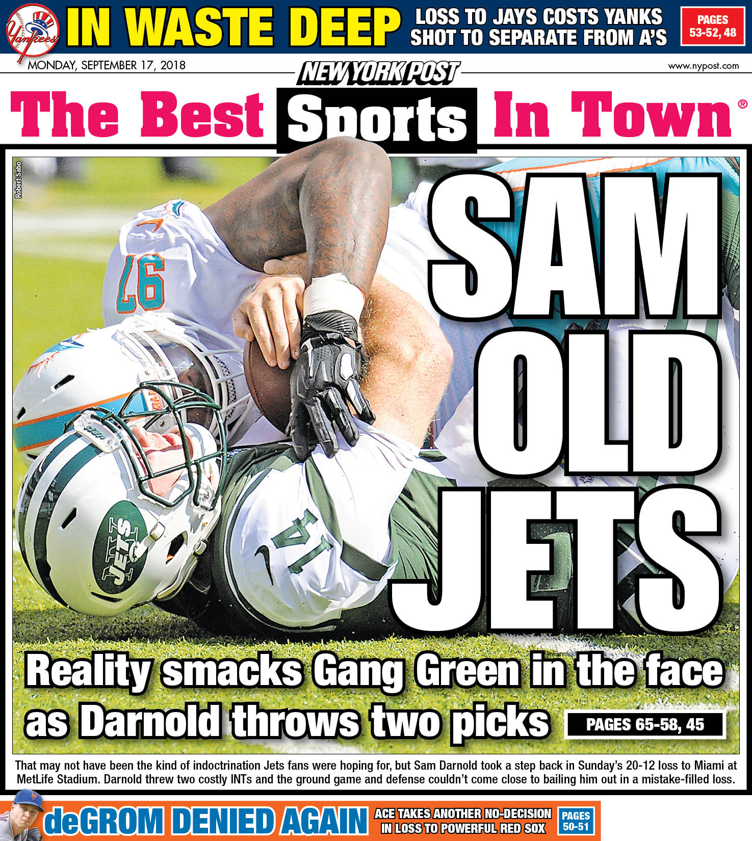"""New York Post Sports On Twitter: """"The Back Page: Now Sam"""