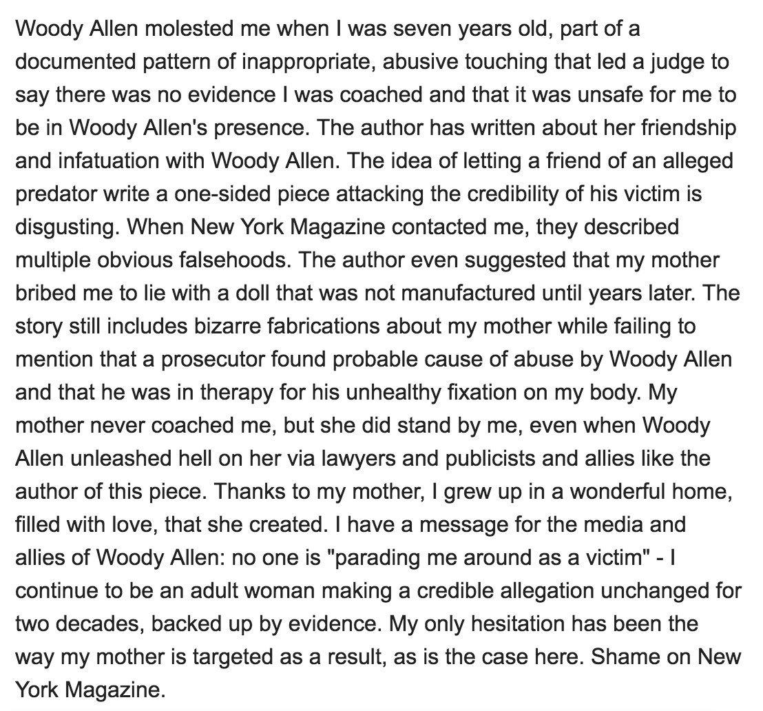 My statement on New York Magazine: