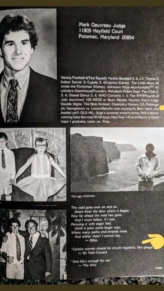 One year after alleged sexual assault, Kavanaugh's friend and alleged accomplice (Mark Judge) thought it great to associate himself with this quote in their high school yearbook 1983: Certain women should be struck regularly, like gongs (h/t: @riotwomennn)