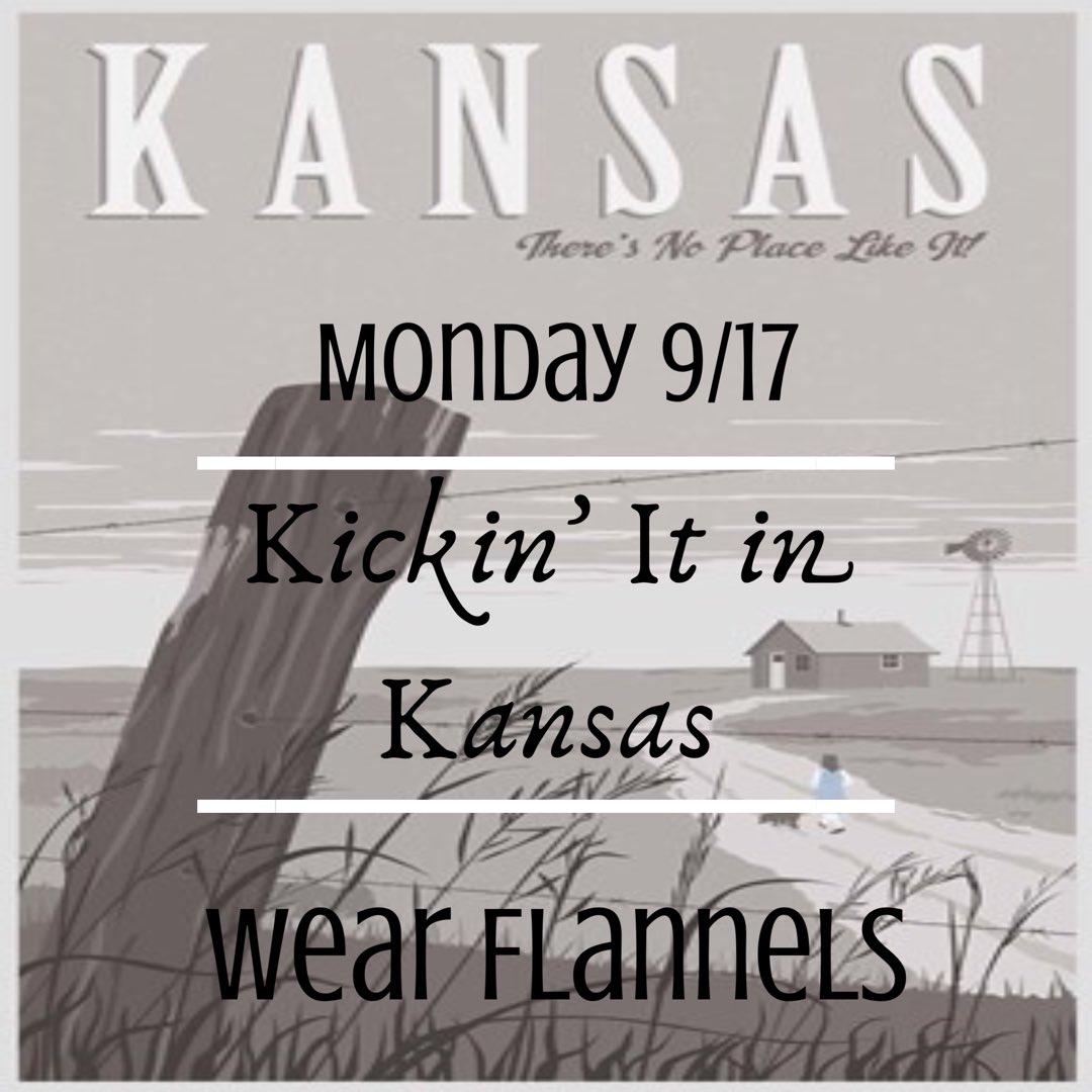 Tomorrow we're kickin' it in Kansas! wear flannels!