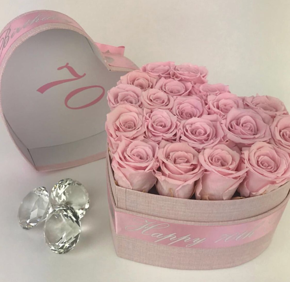 Pink Real Preserved One Year Lasting Roses Personalised Ribbon Printed Lids Available Http Foreverflowersuk Flowersinabox Sweetheart