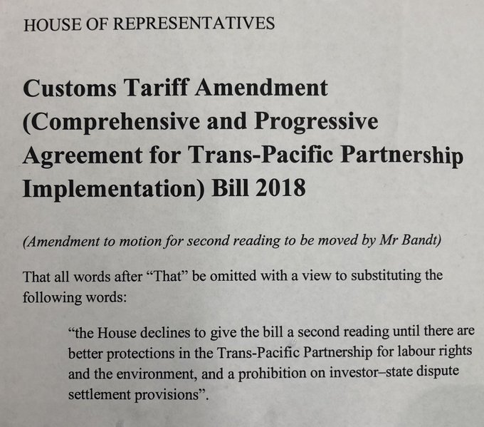 Labor & Libs just voted to wave thru terrible #TPP deal as is, knocking back #Greens push to delay signing on until we'd improved labour and env protections & removed the ability for corporations to overrule govts. But ALP & Libs hand in glove w multinationals. Photo