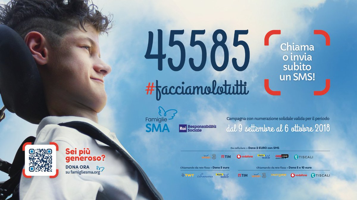 A sostegno della rete clinica che aiuta bambini e adulti con atrofia muscolare spinale, #RaccoltaFondi #facciamolotutti di #FamiglieSMA. #SMSsolidale 45585. @famigliesma @RaiDue  - Ukustom