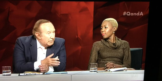 The grace, strength and generosity of black women when having to listen to white men tell them what is racist or not. It's actually offensive that @Sisonkemsimang has to have racism whitesplained and mansplained to her. She's been terrific tonight. #QandA Photo
