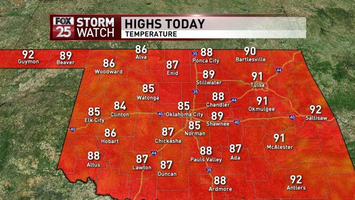 Good morning Oklahoma! What to expect for this afternoon! More details here -> https://t.co/7ED39FwcSn https://t.co/RphWtyJTtA